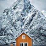 single yellow hut, Lofoten photography workshop